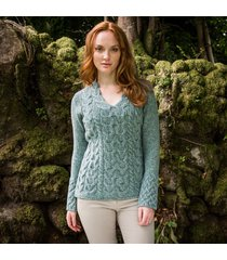 the horseshoe cable sweater green s