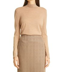 women's boss faliana slit cuff wool sweater, size xx-large - brown