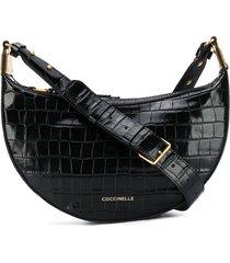 coccinelle anais shiny soft croco shoulder bag - black