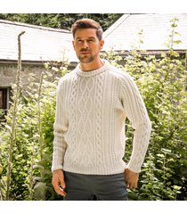 men's munster aran sweater cream l