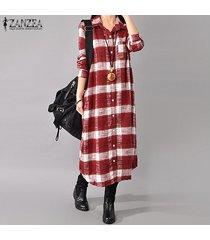 zanzea otoño retro tela escocesa da vuelta-abajo botones de manga larga de down mujeres camisa larga talla de ropa de algodón de lino vestido rojo plus -rojo