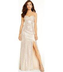 aidan by aidan mattox strapless metallic gown