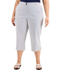 karen scott plus size chambray corded-stripe capri pants, created for macy's