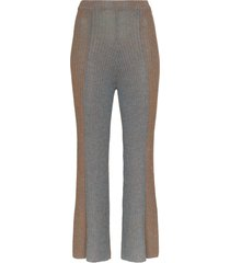 eckhaus latta ribbed knit kick flare trousers - brown