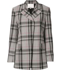 3.1 phillip lim plaid oversized blazer - wh428 white-navy-hot pink