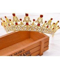 sposa gold red rhinestone crystal tiara corona principessa regina matrimonio wedding party headpiece