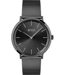 hugo boss men's skyliner black stainless steel mesh bracelet watch 40mm