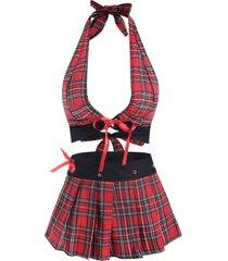 tartan plaid lace up tie back plus size lingerie set