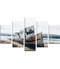 conjunto de 5 telas decorativas em canvas love decor barco multicolorido 90x160cm