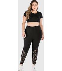 plus size black lace details stretch waistband legging