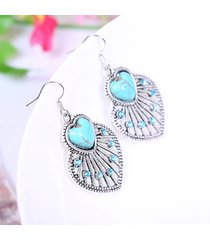 orecchini di goccia dell'orecchio della boemia a forma di ventaglio vuoto orecchini a forma di cuore con turchesi blu per le donne