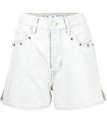 off-white stud-embellished denim shorts - blue
