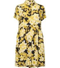 rosanna ss shirt dress printed knälång klänning gul soft rebels