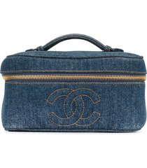 chanel pre-owned 1997 denim cc cosmetics case - blue