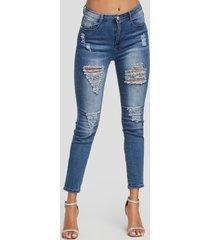 azul classic detalles rasgados al azar de cintura media jeans