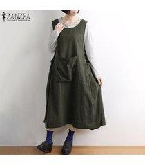 zanzea mujeres feas llamarada básico sin mangas vestido de tirantes vestido largo los delantales midi (no incluye la camisa) -ejercito verde