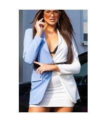 sexy lange two-tone blazer met riem blauw