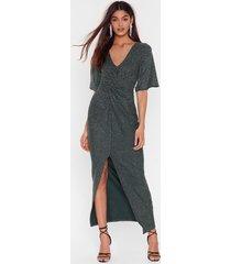 womens don't be glitter twist maxi dress - forest