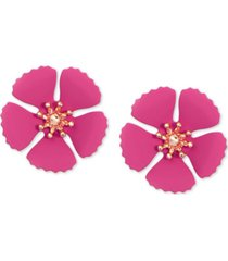 zenzii gold-tone & suede-painted-finish flower stud earrings
