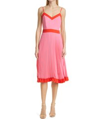 women's milly jill pleated a-line dress, size 10 - pink