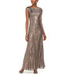 nightway allover-sequin gown