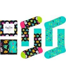 happy socks women's cat socks gift box, pack of 2