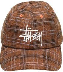 stussy plaid baseball cap