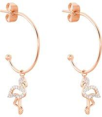 orecchini a cerchio fenicottero in argento rosato e zirconi per donna