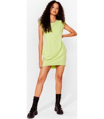 womens shoulder pad case of lovin' you jersey mini dress - mint