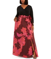 adrianna papell plus size floral-print gown