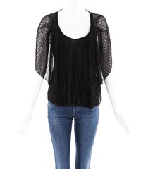 givenchy pleated batwing sweater black sz: