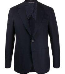 canali fitted fine knit blazer - blue