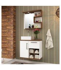 gabinete c/ cuba para banheiro veneza 1 porta bosi branco e nogal