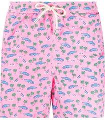 mc2 saint barth crocodile-print elasticated-waist swim shorts - pink