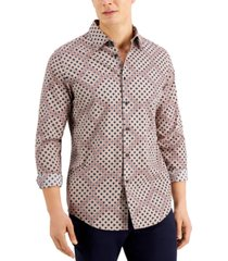 tasso elba men's diamante geo print shirt, created for macy's