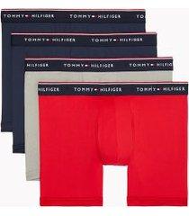 tommy hilfiger men's microfiber boxer brief 4pk tango red/grey heather/navy blazer/navy blazer - xxl
