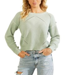 guess camille button-shoulder pointelle-knit sweater