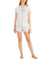 alfani printed notch collar pajama shorts set, created for macy's