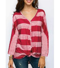 camicette con scollo a v a contrasto di colore a righe per donna
