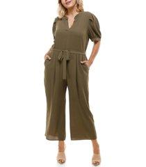 monteau trendy plus size puff-sleeve wide-leg jumpsuit