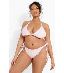 plus driehoekige badstoffen bikini top, pastel pink