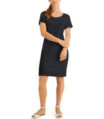 karen scott petite cotton button-shoulder dress, created for macy's