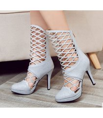 ps400 sweet caged booties, high heels, us size 2-10, silver