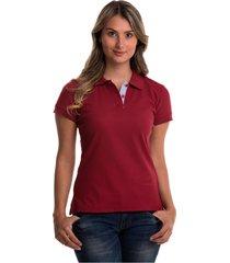 camiseta polo hamer, básica de mujer, casual, para uso diario, clasica color vino tinto