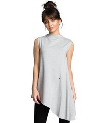 blouse be b069 asymmetrische mouwloze top - grijs