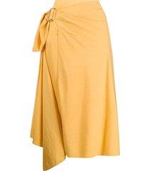 vince side buckle midi skirt - yellow