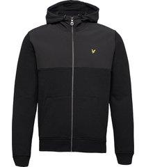 softshell jersey zip hoodie hoodie trui zwart lyle & scott