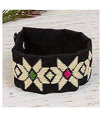 cotton wristband bracelet, 'buff light' (mexico)