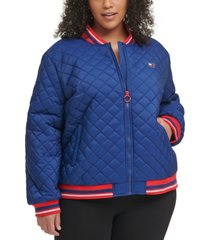 tommy hilfiger sport plus size quilted zip-up bomber jacket