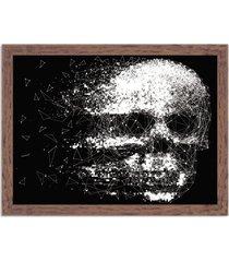 quadro decorativo black skull faded madeira - médio